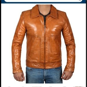 👻 Fanjacket cognac Thomas style teal leather NWT